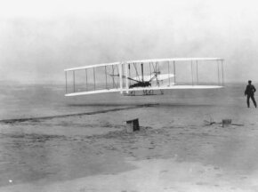 The Wright Brothers' first flight. See more ­flight pictures.