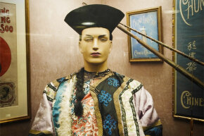 The robes and magical props of Chung Ling Soo, displayed in The Magic Circle's Museum in London.