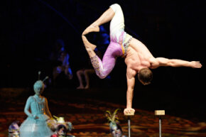 Circus performers, like this Cirque du Soleil acrobat, can find insurance companies specializing in performances.