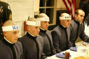 Thanksgiving dinner in The Citadel mess hall. The gentlemen with the festive headgear appear to be knobs.