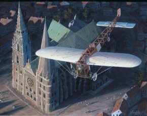 In 1909, Louis Bleriot flew his Bleriot XI monoplane above the Notre-Dame de Paris.