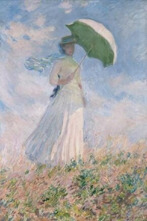 Woman with an Umbrella turned towards the right by Claude Monet is an oil on canvas (51-5/8x34-5/8 inches) housed at the Musée d'Orsay in Paris.