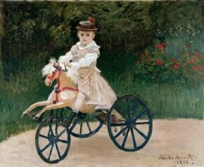 Claude Monet's Jean Monet on His Hobby Horse  (23-1/4x28-3/4 inches) is an oil on canvas housed at the Metropolitan Museum of Art in New York.