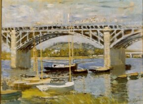 Claude Monet's Bridge at Argenteuil (23-5/8x31-1/2 inches) is an oil-on-canvas work house at the Neue Pinakothek in Munich, Germany.