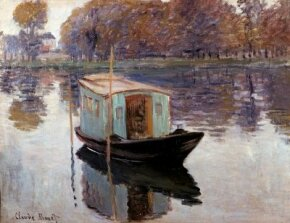 Claude Monet's The Studio Boat (19-5/8 x 25-1/4 inches) is an oil on canvas housed at the Kroller- Muller Museum in Otterlo, Netherlands.