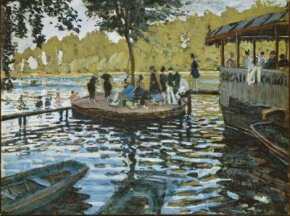 Claude Monet's La Grenouillere (29-3/8x39-1/4 inches) is an oil on canvas housed at the Metropolitan Museum of Art in New York.