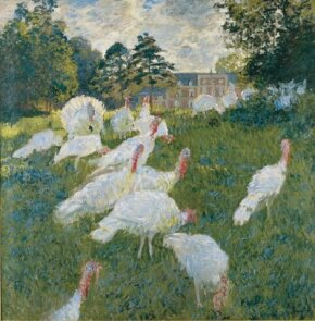 Claude Monet's Turkeys (67-3/4x68-7/8 inches) is an oil on canvas housed at the Musee d'Orsay in Paris.