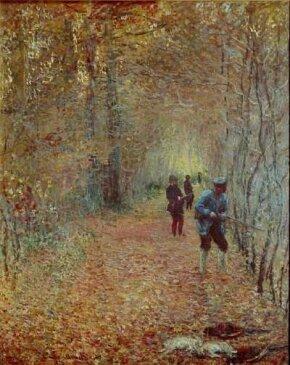 Claude Monet's The Hunt (68-1/8x55-1/4 inches) is an oil on canvas housed at the Musee de la Chasse et de la Nature in Paris.