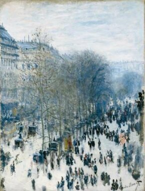 Claude Monet's Boulevard des Capucines  (31-5/8x23-3/4 inches) is an oil on canvas housed  Nelson-Atkins Museum of Art in Kansas City, Missouri