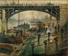 Claude Monet's Unloading Coal (21-5/8x26 inches) is