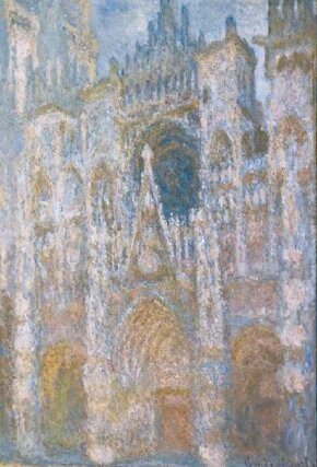Rouen Cathedral at the End of the Day (Sunlight Effect) by Claude Monet is an oil on canvas (35-7/8 x 24-3/4 inches) and is housed at Musée d'Orsay, Paris.