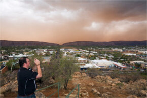 Photographing an imminent dust storm, as this Australian gentleman seems intent on doing, is just one of many ways to get your digital camera dirty.