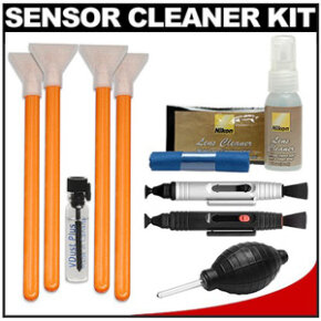 A sample sensor cleaner kit available on Amazon for $32.95. It comes with lens cleaner, microfiber and cleaning cloths, a blower, two lens pens, four swabs and some liquid cleaner. This one is designed for several different Nikon models.