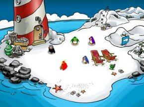 Above is Club Penguin's beach, where fellow penguins can chat and socialize. Users can create a free account, but to do the fun activities, kids will have to beg their parents for a paid subscription.