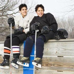 The first step in coaching hockey is to make sure your players are comfortable on the ice. See more sport pictures.