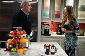 Gloria Pritchett (played by Sofia Vergara) gives her husband Jay (Ed O'Neill) a piece of her mind on ABC TV's 'Modern Family.'