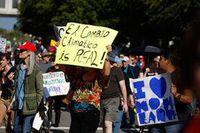 A sign written in Spanglish declares that climate change is real at the 'Forward on Climate' rally held on Feb. 17, 2013 in Los Angeles.