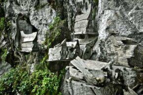 Several other cultures have honored or protected their dead (and the valuables they're laid to rest with) in hanging coffins. These coffins sit on platforms suspended from the face of a cliff near the Ke'te Kesu village in Sulawesi, Indonesia.