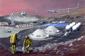 Sketch of manned Martian outpost