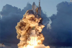 the Dawn spacecraft blasting off