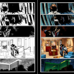 """Laura Martin says the color schemes in this art, from """"The Stand: Hardcases,"""" are based on photos of the MGM Grand. She made subtle changes, darkening the hallway and making the penthouse warmer and richer, to play off the emotions of the characters."""