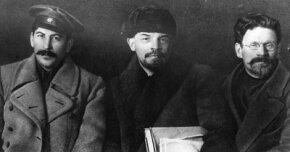 Russian revolutionaries and leaders Joseph Stalin, Vladimir Ilyich Lenin and Mikhail Ivanovich Kalinin at the Congress of the Russian Communist Party.