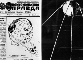 The Soviet newspaper Pravda announces the launch of Sputnik.­