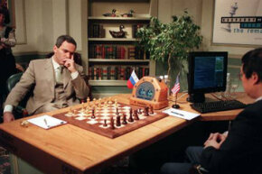 Garry Kasparov faces off in game one of a six-game rematch against Deep Blue. See more computer pictures.