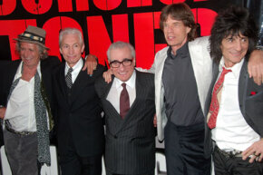 "Bands need to consider other options besides simply touring. The Rolling Stones, shown here with director Martin Scorcese, made a bang with its concert movie, ""Shine a Light."""