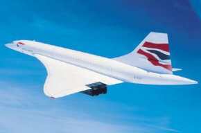 Drawing of the Concorde in flight: Note the wide, triangular wing structure and lack of horizontal tail.