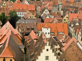Concrete tiles still cover the roofs of buildings in Rothenburg, Germany, a century after they were installed.