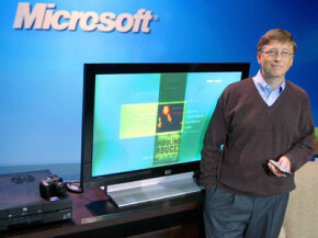 In 2005, then-Microsoft Chairman and CEO Bill Gates shows off the company's Windows XP Media Center Edition software, which can be used to deliver video, music and photos from a computer to a TV.