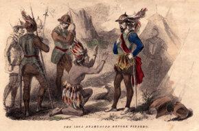 Inca ruler Atahualpa begs for mercy from the conquistador Francisco Pizarro. After receiving a ransom for the ruler, Pizarro executed Atahualpa.