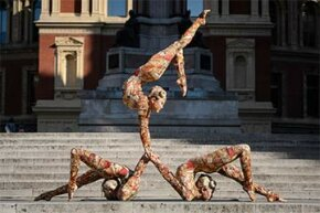 Contortionists from the Cirque du Soleil pose for photographers during a press call to promote their show 'Kooza', outside the Royal Albert Hall in central London in 2014.