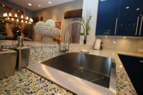 EnviroSLAB takes unusable glass and porcelain and crushes it to make mosaic-style countertops.