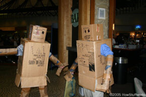 Cardboard costumes: not breathable or flexible