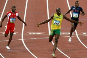 Jamaican Usain Bolt took home the gold in the 100-meter race in Beijing's 2008 games. He set a new world record -- 9.69 seconds.
