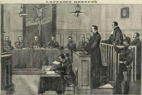 Engraving from a French newspaper shows the trial of Colonel Esterhazy during the Dreyfus Affair of 1898.