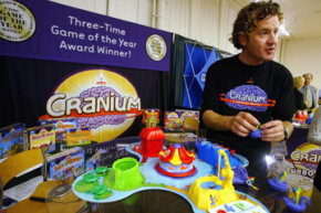 Richard Tait (the Grand Poo Bah himself) shows off a new version of Cranium at the Toy Industry Association & Toy Wishes Holiday Preview show Oct. 5, 2004 in New York City.