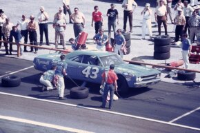 Richard Petty drove this Plymouth Road Runner after crashing his Superbird in practice, only to wreck the Road Runner, too.