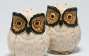 "If you have a collection, display one or two items with complimentary objects. This ensures that you don't inadvertently create an ""Owl Corner"" in your living room."