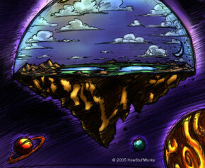 Artist concept of flat Earth as described in flat-Earth creationism