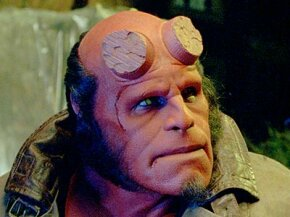 Ron Perlman as Hellboy in the makeup designed by Matt Rose and Chad Waters