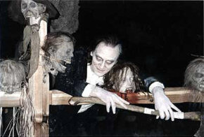 """A re-creation of a Bernie Wrightson illustration on the set of """"When Zombies Attack!!"""""""