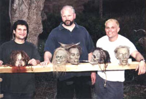 """From left to right -- Matt Rose, Frank Rydberg and Chad Waters on the set of """"When Zombies Attack!!"""" See more creature effects pictures."""