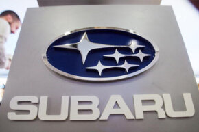 The Subaru logo is displayed at the New York International Auto Show in New York City.