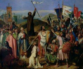 The Crusaders march around Jerusalem.