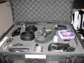 Joe Clayton's photography kit for photographing a crime scene