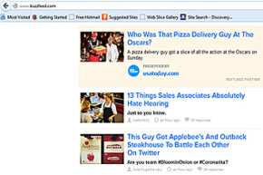 Screenshot of BuzzFeed's home page on March 3, 2014. Do any of those sample titles make you curious? The pizza guy one makes us curious and hungry.