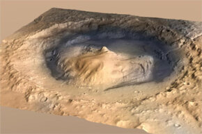 That's a view of Gale Crater, where Curiosity landed. Note that this artist's concept has a vertical exaggeration to give people a better idea of the region's topography.